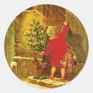 Navidad húngaro a partir de 1896 pegatinas redondas