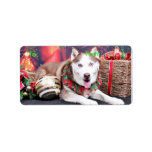 Navidad - husky siberiano - compinche etiqueta de dirección