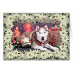 Navidad - husky siberiano - compinche tarjeta de felicitación
