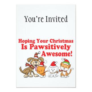 Navidad impresionante de Pawsitively de los perros Invitación 12,7 X 17,8 Cm