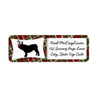 Navidad inglés del dogo etiqueta de remite