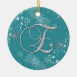 Navidad inicial de las estrellas de plata azules E Ornamentos De Navidad