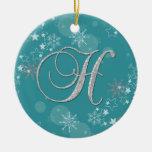 Navidad inicial de las estrellas de plata azules H Ornamentos De Reyes Magos