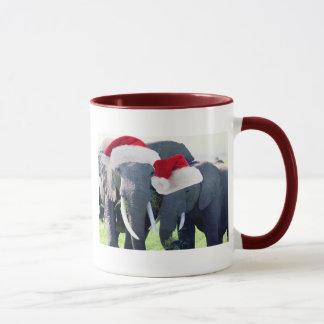 Navidad inolvidable del elefante taza