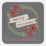 Navidad inspirado tiza personalizado de la colcomanias cuadradases