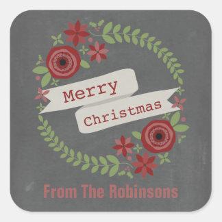 Navidad inspirado tiza personalizado de la pegatina cuadrada