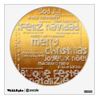 Navidad internacional que saluda la etiqueta 1 de vinilo adhesivo