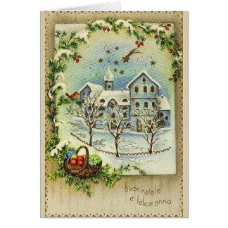 Navidad italiano retro y tarjeta del Año Nuevo