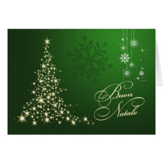 Navidad italiano - verde y árbol chispeante del tarjeta de felicitación