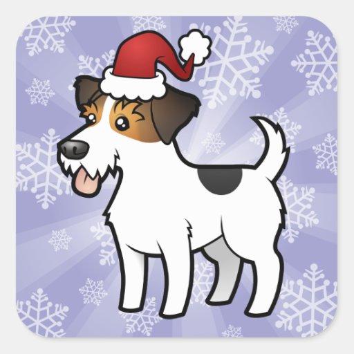 Navidad Jack Russell Terrier Colcomanias Cuadradas
