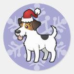 Navidad Jack Russell Terrier Pegatinas Redondas