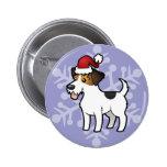 Navidad Jack Russell Terrier Pin Redondo 5 Cm