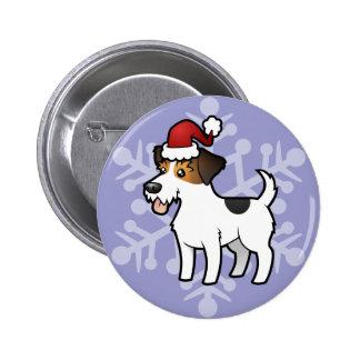 Navidad Jack Russell Terrier Pin Redondo De 2 Pulgadas