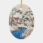 Navidad japonés de la bella arte de Hiroshige Adorno Navideño Ovalado De Cerámica