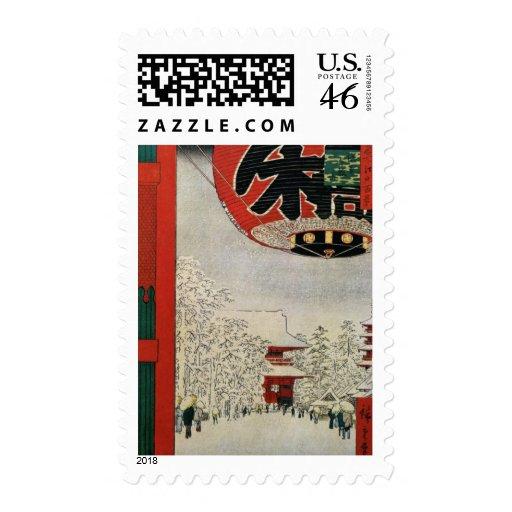 Navidad japonés del arte del vintage sello