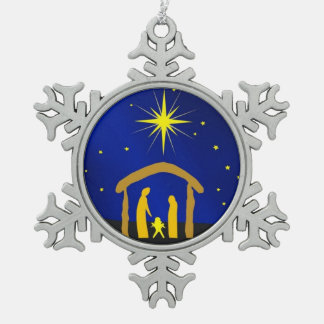 Navidad Jesús en un ornam del copo de nieve del es Adorno