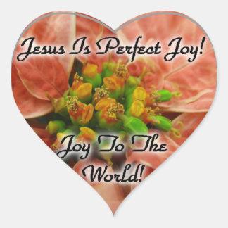 Navidad: ¡Jesús es alegría perfecta! pegatinas Pegatina En Forma De Corazón