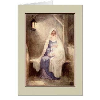 Navidad Jesús y Maria del vintage Tarjeta De Felicitación
