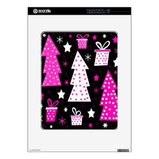 Navidad juguetona rosada iPad skins