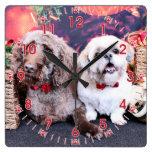 Navidad - LabraDoodle Bob - Shih Tzu Bentley Reloj De Pared