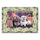 Navidad - LabraDoodle Bob - Shih Tzu Bentley Tarjeta De Felicitación