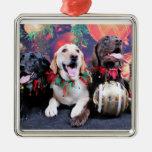 Navidad - Labrador - punta y moca del tipo Adorno Cuadrado Plateado