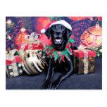 Navidad - Labrador - tonelero Tarjeta Postal