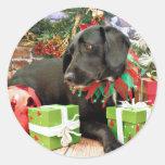 Navidad - Labrador X de oro - Abby Etiqueta Redonda
