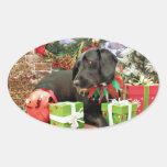 Navidad - Labrador X de oro - Abby Calcomanías De Ovales Personalizadas