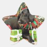 Navidad - Labrador X de oro - Abby Calcomanías Forma De Estrellaes Personalizadas