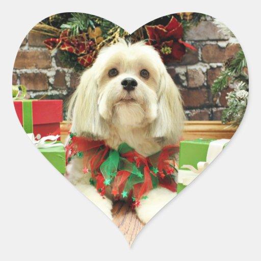 Navidad - Lasa Apso - Muffie Pegatina En Forma De Corazón