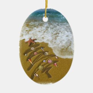 Navidad lavado para arriba en orilla adorno navideño ovalado de cerámica