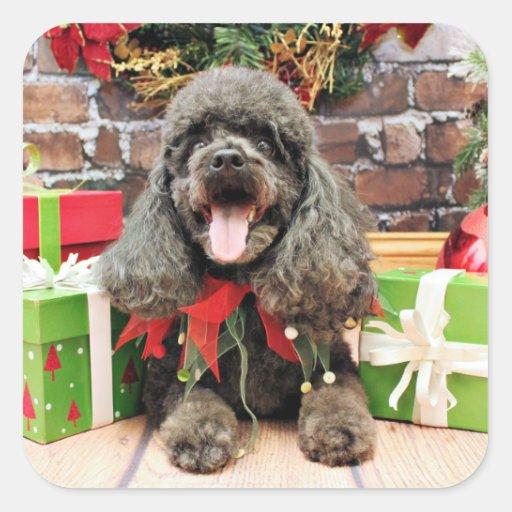 Navidad - LhasaPoo - duende Calcomania Cuadradas Personalizada