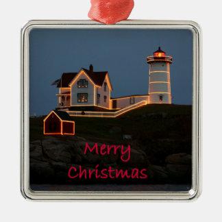Navidad ligero de la protuberancia pequeña adorno cuadrado plateado