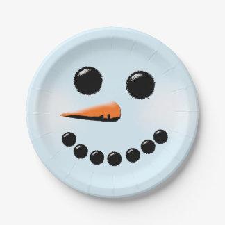 Navidad linda de los muñecos de nieve de las plato de papel 17,78 cm