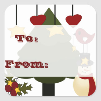 Navidad lindo a: De: El regalo marca a los Calcomanías Cuadradass Personalizadas