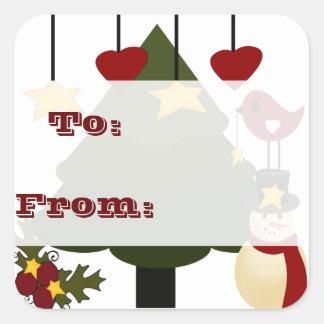 Navidad lindo a: De: El regalo marca a los Pegatina Cuadrada