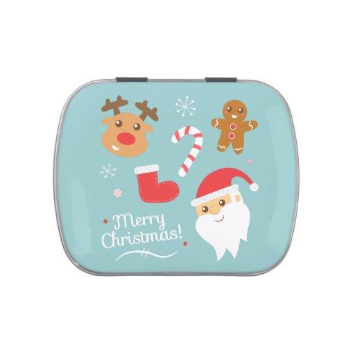Navidad lindo con Santa, reno, pan de jengibre Latas De Dulces