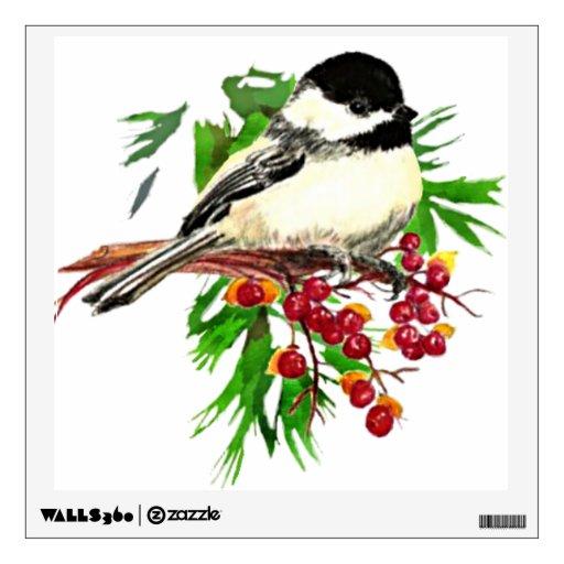 Navidad lindo de la baya del acebo del Chickadee d