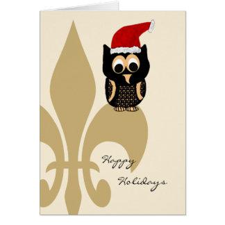 Navidad lindo de la flor de lis de Santa del búho Felicitaciones