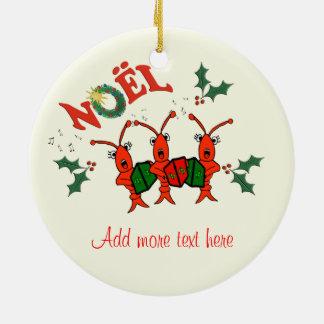 Navidad lindo de la langosta de los cangrejos de adorno redondo de cerámica