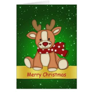 Navidad lindo de las estrellas del reno y del cent felicitación