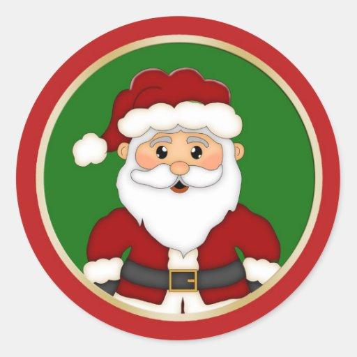 Navidad lindo de Santa Pegatina Redonda