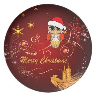 Navidad lindo del búho plato de cena