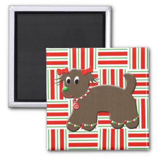 Navidad lindo del caramelo de la galleta del perro imán cuadrado