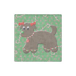 Navidad lindo del caramelo de la galleta del perro imán de piedra