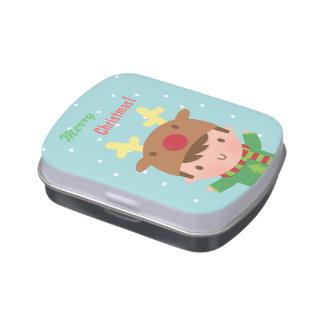 Navidad lindo del muchacho del reno para él jarrones de caramelos