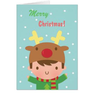 Navidad lindo del muchacho del reno para él tarjeta de felicitación