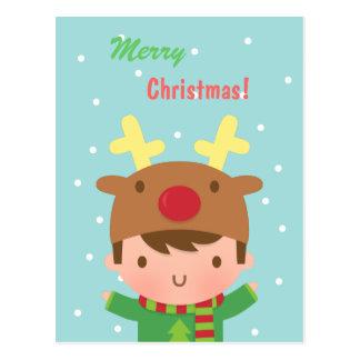 Navidad lindo del muchacho del reno para él tarjeta postal