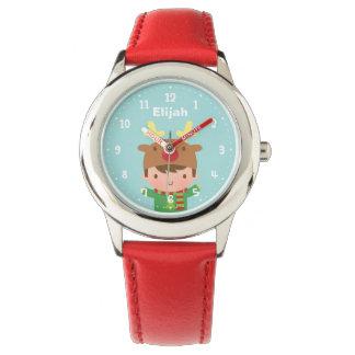 Navidad lindo del muchacho del reno para los niños relojes de pulsera